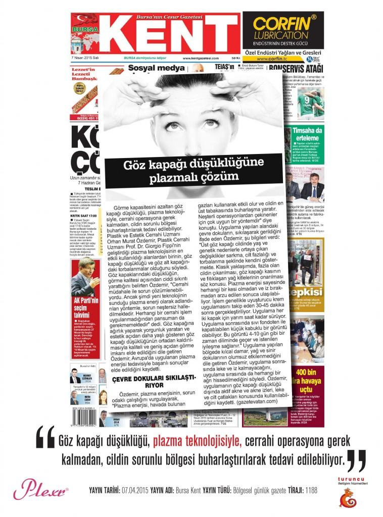 Naturamed-Plexr Bursa Kent Gazetesi 07.04.2015