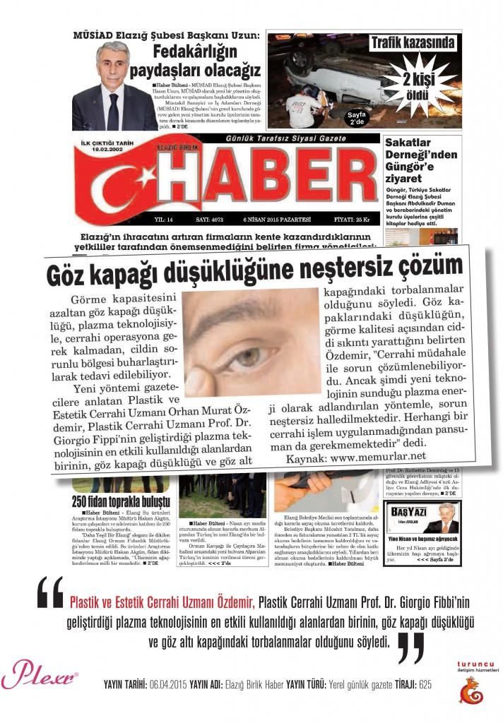Naturamed-Plexr Elazığ Birlik Haber Gazetesi 06.04.2015