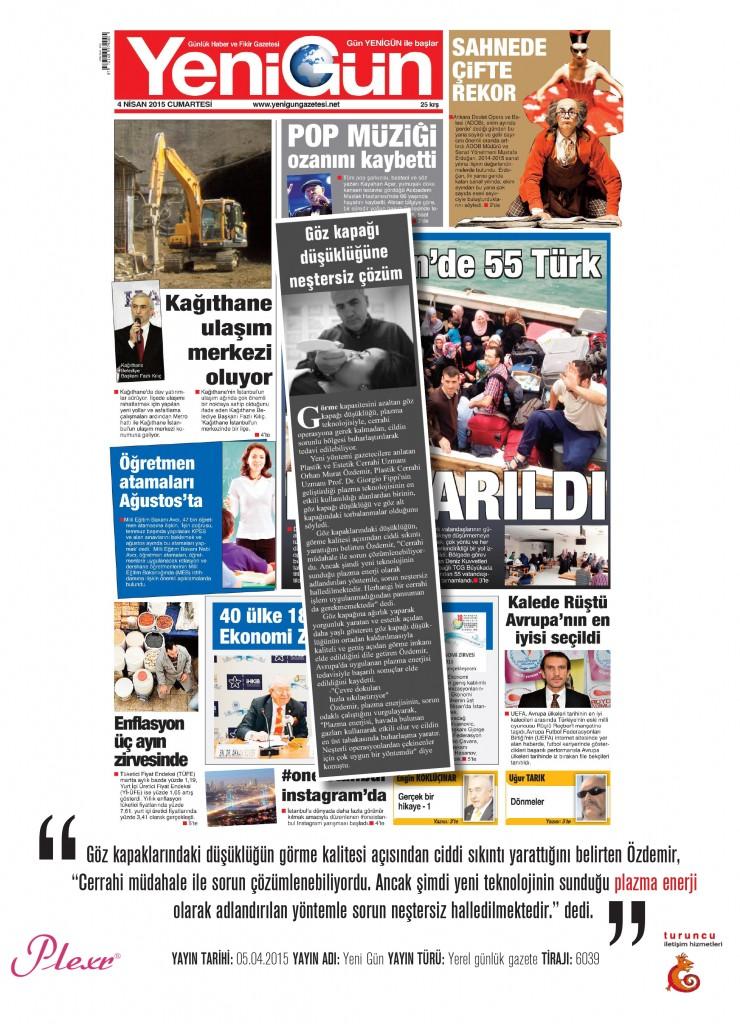 Naturamed-Plexr Yeni Gün Gazetesi 05.04.2015